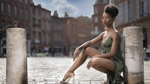 Women Model Black Hair Red Lipstick Heels Legs Looking At Viewer Dress Hoop Earrings Women Outdoors  2560x1707 Wallpaper