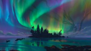 Landscape Nature Aurorae Island Tentacles 1280x940 wallpaper