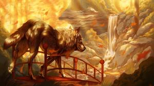 Animal Fall Stream Waterfall Wolf 3786x2698 Wallpaper