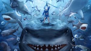Anime Girls Shark Virtual Youtuber Gawr Gura Anime Pointy Teeth Shark Teeth Hololive 2047x1447 Wallpaper