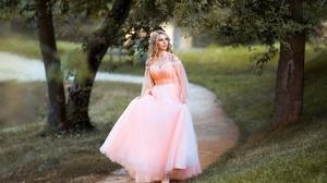 Woman Girl Blonde Pink Dress Depth Of Field 2040x1360 Wallpaper