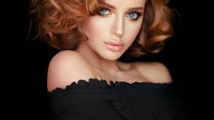 Women Redhead Curly Hair Looking At Viewer Blue Eyes Makeup Lip Gloss Bare Shoulders Black Clothing  1556x2048 Wallpaper