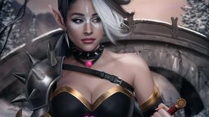 Blue Eyes Dagger Elf Girl Pointed Ears Woman Warrior 4000x3417 Wallpaper