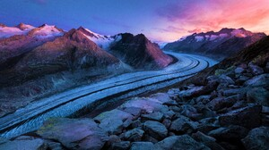 Mountain Road Rock Snow Stone Winter 8192x5461 wallpaper