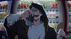 Vending Machine Yokai Male Smiling Glowing Eyes Can Green Eyes Horns White Hair 3136x1920 Wallpaper