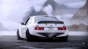Khyzyl Saleem Car Render Digital Art BMW BMW E34 Widebody White Cars Vehicle BMW 5 Series 1982x1156 Wallpaper