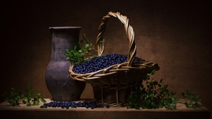 Basket Berry Blueberry Fruit Still Life Vase 4840x3136 wallpaper