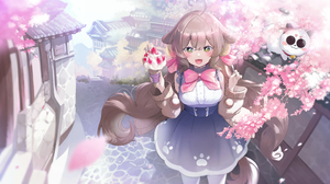 Anime Cherry Blossom Animal Ears Ice Cream Cats Street Building Brunette Long Hair Twintails Bangs D 3551x2160 Wallpaper