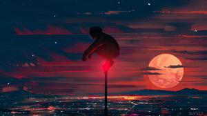 Digital Painting Cityscape City Lights Night Moon Sky Clouds Pen Syls 4800x2700 Wallpaper
