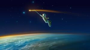 Artwork Fantasy Art Space Astronaut Shooting Stars 1920x1280 Wallpaper