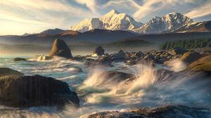 Marc Adamus Landscape Alaska Snowy Peak Sky Clouds Mountains Rocks Water Trees Horizon Sunlight Natu 1800x1239 Wallpaper