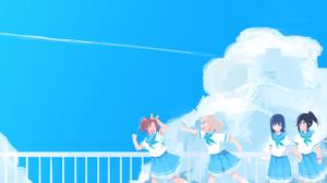 Anime Girls Blue Skirt Clear Sky Anime Women Outdoors School Uniform Hibike Euphonium Kasaki Nozomi  2956x1753 wallpaper