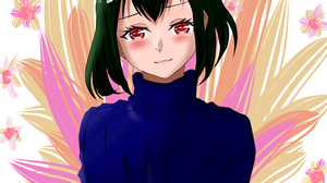 Black Clover Nero Character CHiCA Digital Artwork Short Hair Green Hair Horns Red Eyes Sweater 3000x3000 Wallpaper