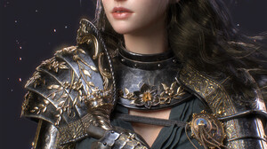 Se Young Lee CGi Women Brunette Long Hair Looking Away Green Eyes Knight Armor Weapon Sword Steel Si 1920x2585 Wallpaper