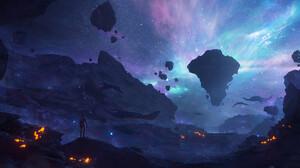 Artwork Digital Art Fantasy Art Space Stars Gordon Freeman 3840x1700 Wallpaper