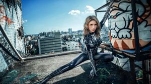 Asian Model Women Long Hair Blonde Rooftops Spider Man Skyline Depth Of Field 3840x2561 Wallpaper