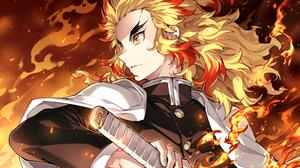 Anime Anime Boys Kimetsu No Yaiba Rengoku Kyoujurou Fire Yellow Hair Long Hair Nardack Katana Yellow 1500x1235 Wallpaper