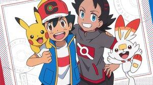 Ash Ketchum Goh Pokemon Scorbunny Pokemon Pikachu Smile Brown Eyes Blue Eyes Boy Black Hair Cap Two  2048x1447 Wallpaper