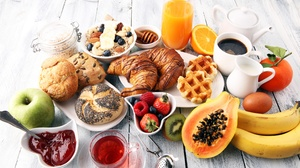 Breakfast Croissant Fruit Still Life Viennoiserie 8688x5792 Wallpaper