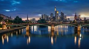 Bridge City Frankfurt Germany Night River 3000x1687 Wallpaper
