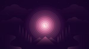 Night Digital Rings Artwork Minimalism Forest 1920x1080 wallpaper