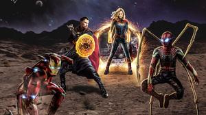 Captain Marvel Doctor Strange Iron Man Spider Man 2358x1708 Wallpaper