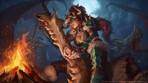 Ramza Ardyputra Digital Art Smite Dragon Sword Fire 1920x1080 Wallpaper