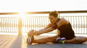 Exercising Boots Shoes Dappled Sunlight Sunlight Black Clothes Legs Model Brunette Hairband Photogra 2560x1280 Wallpaper