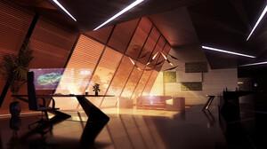 David Bocquillon Carrasco Digital Art Science Fiction Hologram Couch Desk Evening Laboratories 3840x2061 Wallpaper
