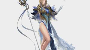 Daeho Cha Drawing Women Blonde Long Hair Dress Fantasy Art Weapon Staff Floating Simple Background W 1920x2171 wallpaper