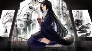 Anime Anime Girls Gigzagu123 Artwork Arknights Saga Arknights Dog Girls Long Hair Black Hair Yellow  4096x2515 Wallpaper