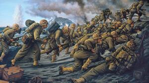 Iwo Jima US Marines Military Artwork World War Ii Soldier War 1600x1007 Wallpaper