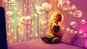 Bubble Girl Woman 1950x1300 wallpaper