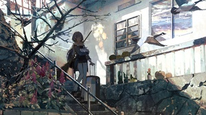 Anime Anime Girls Stairs Outdoors Broom Trees Plants Suitcase Birds Animals House Asia Halloween Kuk 3201x1970 Wallpaper
