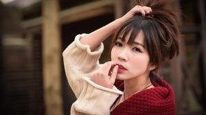 Asian Model Women Women Outdoors Dark Hair Long Hair Depth Of Field Scarf Pullover Holding Hair Look 1920x1281 Wallpaper