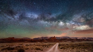 Desert Dirt Road Landscape Milky Way Nature Night Sky Starry Sky Stars 2048x1365 Wallpaper