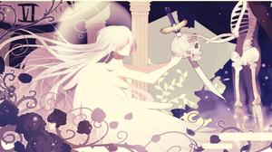 Anime Flower Girl Knife Long Hair Original Anime Rose Skeleton Skull White Hair 2300x1390 wallpaper