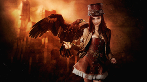 Woman Steampunk Eagle Hat 1920x1080 wallpaper