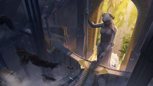 Top View Statue Crow Architecture Digital Art Digital Painting Fan Art Artwork 1920x887 Wallpaper