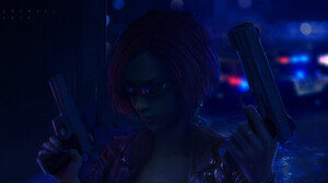 Cheng Li Science Fiction Cyberpunk Warrior Girls Neon Artwork Night Girls With Guns Gun Weapon Dark  1920x1003 Wallpaper