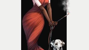 Cruella Cruella De Vil Emma Stone Disney Women Black Hair White Hair Green Eyes Dress Red Dress Ciga 1834x2780 Wallpaper