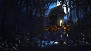 House Tree Jack O 039 Lantern Night Forest 3784x1992 wallpaper