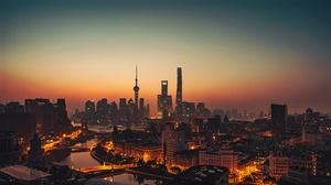 Building China City Night Shanghai Skyscraper 3840x2160 Wallpaper