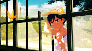 Anime Anime Girls Short Hair Hat Light Effects Butterfly Window Broken Glass Sky Clouds Trees Dark H 2894x1521 Wallpaper