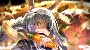 Anime Anime Girls Hololive Hikosan Bunny Ears Long Hair Red Eyes Carrots Open Mouth Tuxedo Money Ton 1897x1068 Wallpaper