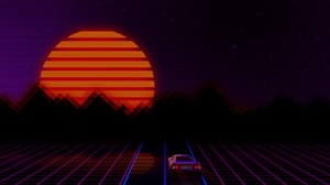 Car Retro Retro Wave 3840x2160 Wallpaper