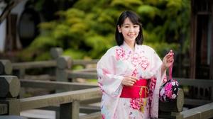 Asian Black Hair Depth Of Field Girl Kimono Model Smile Woman 4562x3043 Wallpaper