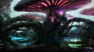 Forest Magical Mushroom Purple Tree 3000x1500 Wallpaper