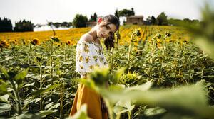 Nicola Davide Furnari Women Brunette Makeup Looking At Viewer Bare Shoulders White Clothing Skirt Or 2048x1152 Wallpaper