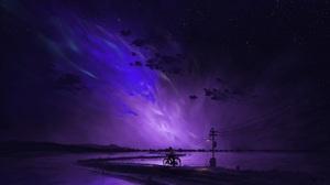 Digital Painting Night Clouds Landscape Lake Bicyclist BisBiswas Purple 1920x1080 Wallpaper